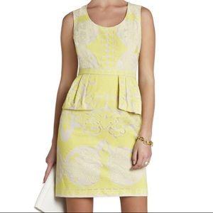 BCBG MaxAzria size 8 yellow lace peplum dress